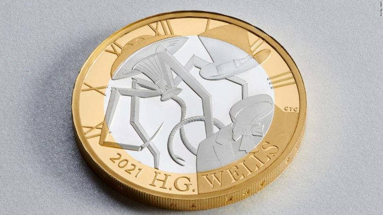 The UK's new HG Wells coin features numerous errors -- including a four-legged tripod
