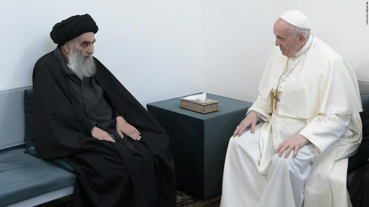 Pope Francis holds historic meeting with revered Shia cleric in Iraq's Najaf