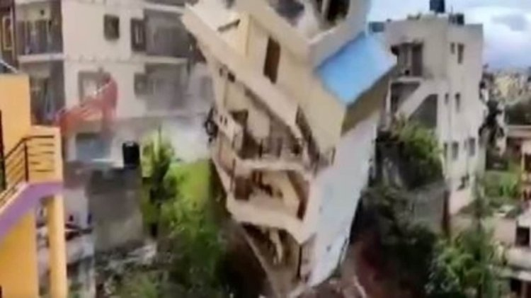Watch: Bengaluru building razed after foundation started to collapse last night - Hindustan Times